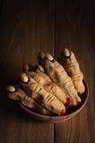 Biscotti del dito della strega di Halloween Fotografie Stock