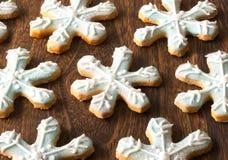 Biscotti del fiocco della neve di natale Fotografia Stock