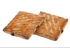 Biscotti del grano intero con frutta isolata Immagini Stock Libere da Diritti