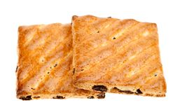 Biscotti del grano intero con frutta isolata Immagini Stock