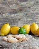 Biscotti del limone spruzzati con zucchero in polvere Fotografie Stock Libere da Diritti