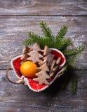 Biscotti del pan di zenzero della farina d'avena sotto forma dell'albero di Natale spruzzato con zucchero in polvere Immagine Stock