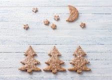 Biscotti del pan di zenzero della farina d'avena sotto forma dell'albero di Natale spruzzato con zucchero in polvere Immagini Stock