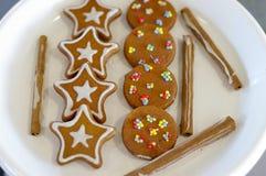 Biscotti del pan di zenzero di festa Fotografie Stock