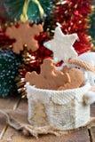 Biscotti del pan di zenzero di forma del fiocco di neve Fotografie Stock Libere da Diritti