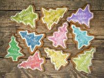 Biscotti del pan di zenzero di Natale con i saluti stagionali Fotografie Stock Libere da Diritti