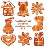 Biscotti del pan di zenzero di Natale dell'acquerello illustrazione di stock