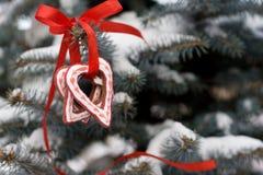 Biscotti del pan di zenzero di Natale di forma del cuore Fotografia Stock Libera da Diritti
