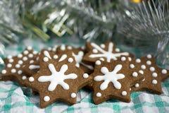 Biscotti del pan di zenzero di natale in una figura della stella Immagine Stock Libera da Diritti