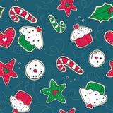 Biscotti del pan di zenzero di Natale verdi e seamle rosso Immagini Stock Libere da Diritti