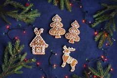 Biscotti del pan di zenzero su fondo blu - casa, alberi, cervi Fotografia Stock