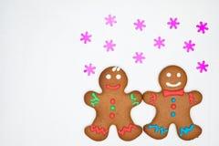 Biscotti del pan di zenzero sul bianco Fotografia Stock