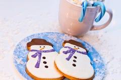 Biscotti del pupazzo di neve Immagine Stock Libera da Diritti