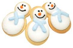 Biscotti del pupazzo di neve di Natale Fotografie Stock Libere da Diritti