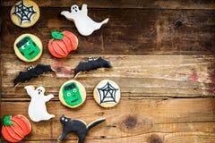 Biscotti deliziosi casalinghi del pan di zenzero per Halloween Fotografia Stock Libera da Diritti