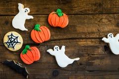 Biscotti deliziosi casalinghi del pan di zenzero per Halloween Fotografie Stock Libere da Diritti