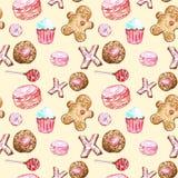 Biscotti dell'acquerello, bigné, lecca-lecca, macaron, modello senza cuciture del pan di zenzero su fondo giallo caldo illustrazione vettoriale