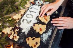 Biscotti dell'albero di Natale del pan di zenzero e segno 2017 Immagini Stock Libere da Diritti