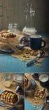 Biscotti dell'arachide con latte ed ostruzione Immagine Stock
