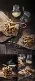 Biscotti dell'arachide con ostruzione e con latte condensato Immagine Stock Libera da Diritti