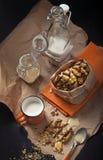 Biscotti dell'arachide e tazza di latte Immagini Stock Libere da Diritti