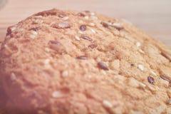biscotti dell'avena del primo piano grandi con i semi del sesamo, del lino e di girasole Macro Fotografia Stock
