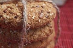 biscotti dell'avena del primo piano grandi con i semi del sesamo, del lino e di girasole Macro Fotografie Stock