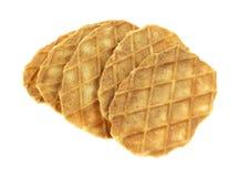 Biscotti della cialda su fondo bianco Fotografia Stock