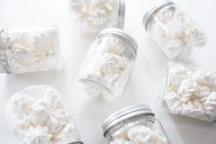 Biscotti della meringa in barattoli su un fondo bianco Fotografie Stock Libere da Diritti