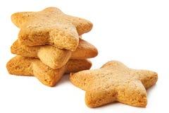 Biscotti della stella isolati Fotografie Stock Libere da Diritti