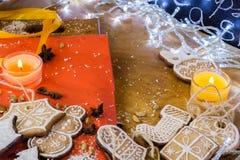 Biscotti dello zenzero di Natale con glassa bianca Fotografia Stock
