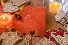 Biscotti dello zenzero di Natale con glassa bianca Fotografia Stock Libera da Diritti