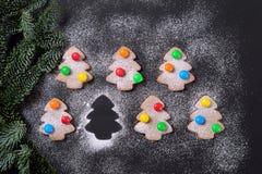 Biscotti dello zenzero in zucchero in polvere con il Natale luminoso Fotografie Stock