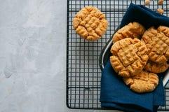 Biscotti di burro di arachidi casalinghi su una rastrelliera Fondo grigio fotografie stock