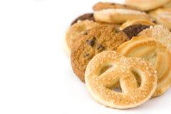 Biscotti di burro isolati su fondo bianco Fotografie Stock