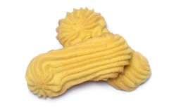 Biscotti di burro su bianco Immagini Stock Libere da Diritti