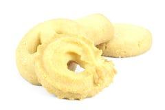 Biscotti di burro su priorità bassa bianca Fotografia Stock