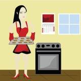 Biscotti di cottura della donna illustrazione di stock