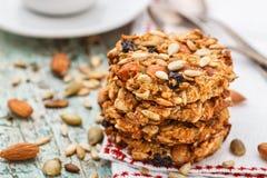 Biscotti di farina d'avena casalinghi con i semi e l'uva passa Fotografia Stock Libera da Diritti
