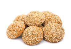 Biscotti di farina d'avena con i semi di sesamo Immagini Stock Libere da Diritti