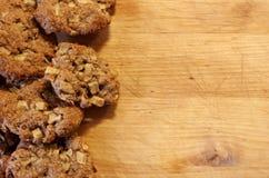 Biscotti di farina d'avena con le mele Fotografia Stock Libera da Diritti