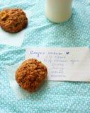 Biscotti di farina d'avena delle mele e ricetta Fotografia Stock