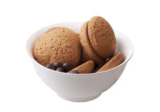 Biscotti di farina d'avena e caramella di cioccolato Fotografie Stock Libere da Diritti