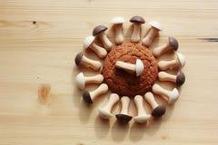 biscotti di farina d'avena e funghi del cioccolato Fotografia Stock