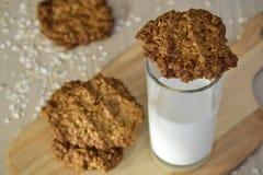 Biscotti di farina d'avena freschi con latte Fotografie Stock Libere da Diritti