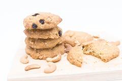 Biscotti di farina d'avena su fondo bianco Fotografia Stock