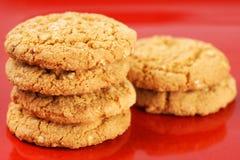 Biscotti di farina d'avena sul piatto rosso Fotografia Stock Libera da Diritti