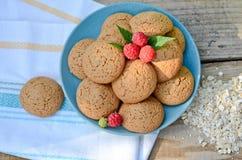 Biscotti di farina d'avena in una farina d'avena seguente dell'asciugamano del lampone e della ciotola Immagine Stock