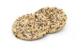 Biscotti di gourment della natura con i semi del sesam e del sale marino Immagini Stock