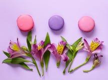 Biscotti di mandorla dei maccheroni e fiori francesi di alstroemeria Fotografie Stock